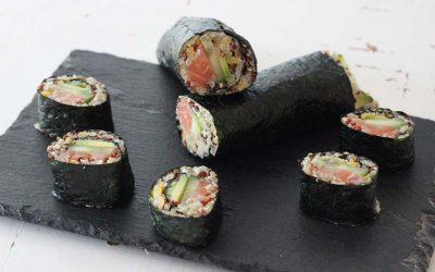 Quinoa-sushi met zalm