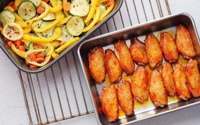 Kippenvleugels en groenten uit de oven