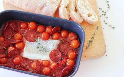 Schelvis en chorizo in tomatensaus