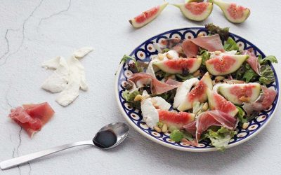 Salade met vijgen, mozzarella en parmaham