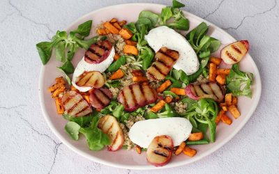Salade met gegrilde perzik en mozzarella