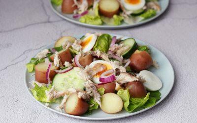 Aardappelsalade met gerookte makreel