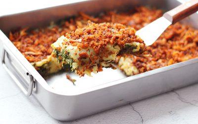 Pulled chicken-zoete aardappel ovenschotel