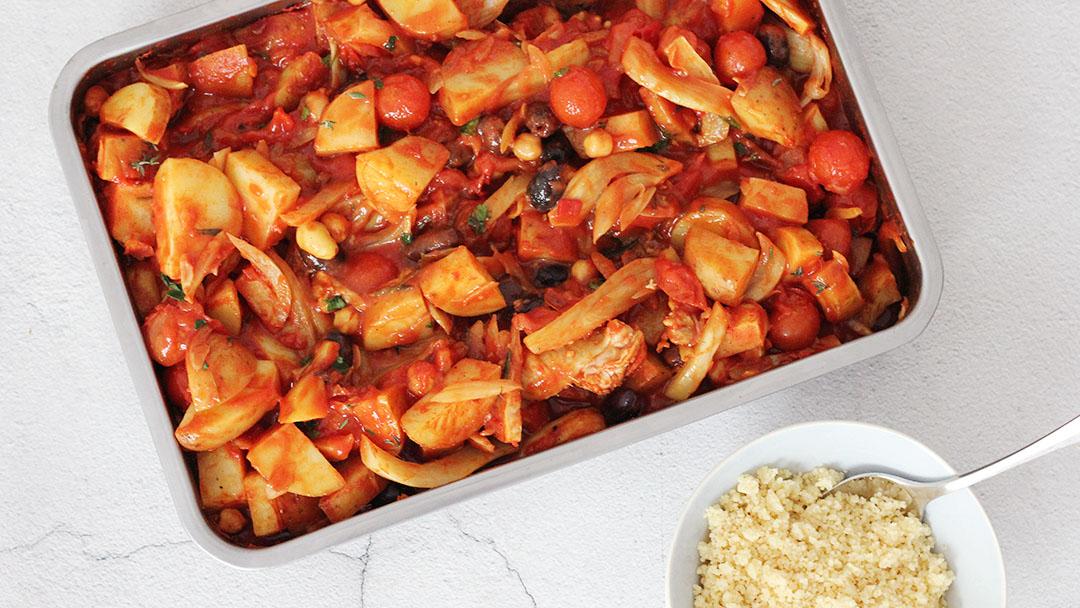 Ovenschotel met venkel, aardappel en tomaat