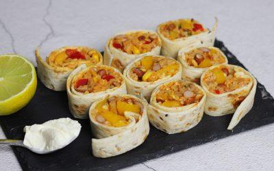Burrito rolletjes met rijst en witte bonen