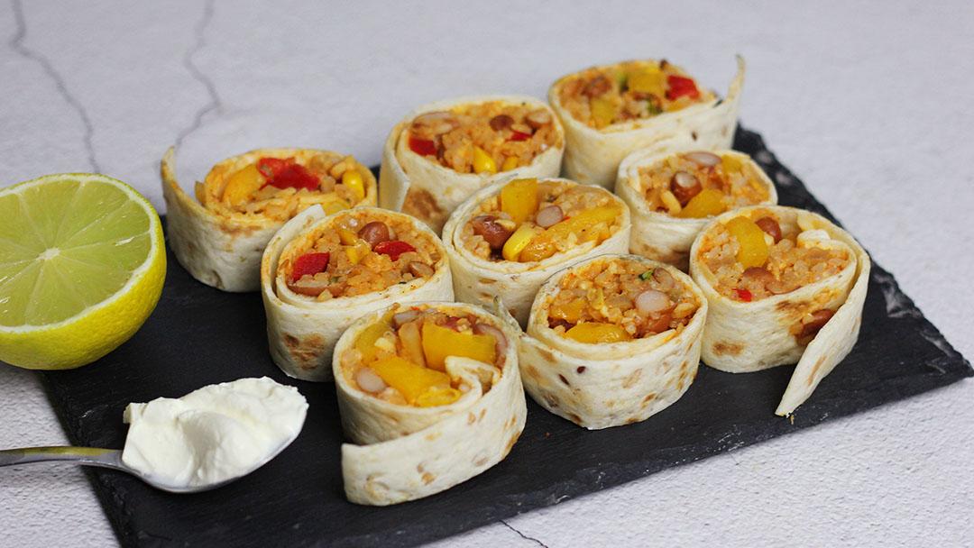 5. Burrito rolletjes met rijst en witte bonen
