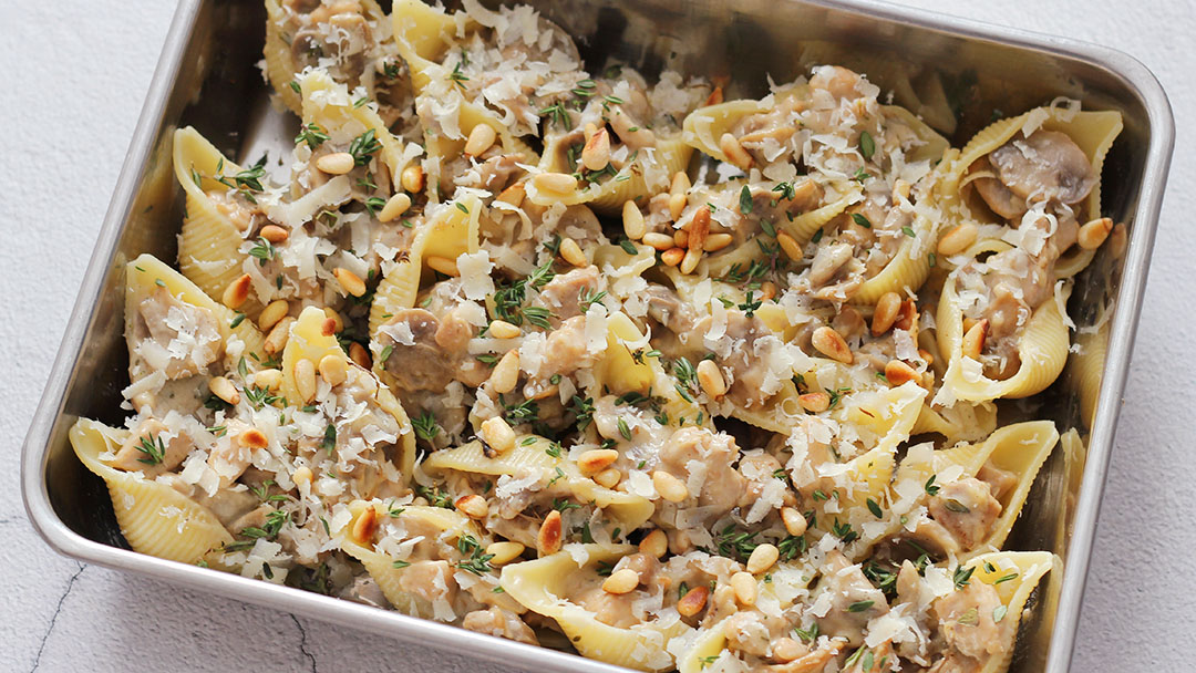 Gevulde pastaschelpen met champignon ragout