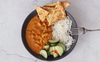 Kip curry met aubergine