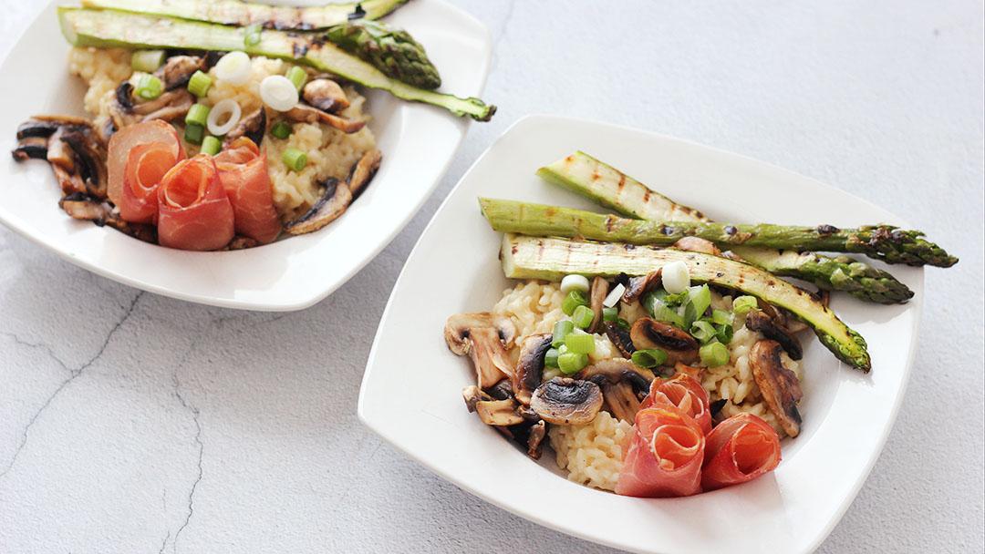 Risotto met groene asperges en parmaham