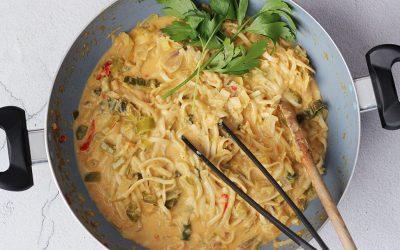 Pittige Thaise soep met kabeljauw