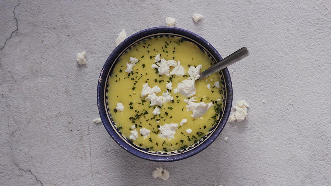 Aardappel-prei soep met geitenkaas
