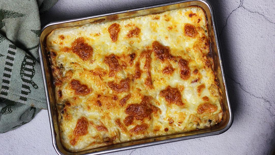 Lasagne met prei en spek